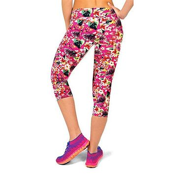 High Quality Women Capris Pants High Waisted Floral Printed Pants Fitness Leggings Workout Pants