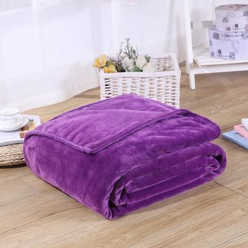 flannel blankets warm coral fleece mink throw adult queen size sofa plaid solid plain pure purple color soft faux fur blanket