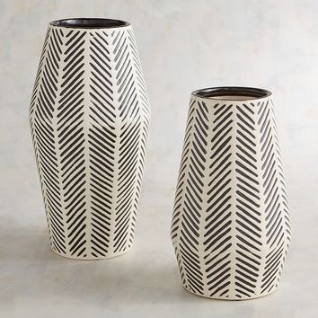 Black & White Herringbone Vases