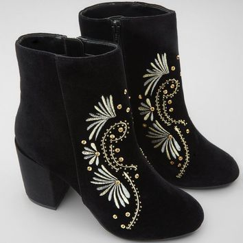 Black Floral Embroidered Velvet Ankle Boots | New Look