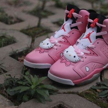 ONETOW Womens Air Jordan 6 Retro High Hello Kitty Basketball Shoes Pink