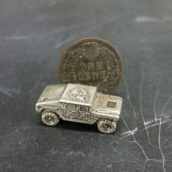 Pewter Humvee HMMWV Miniature Figurine Military Army Diorama Craft Mixed Media Altered Assemblage Art Repurpose Jewelry Supply Truck Vehicle