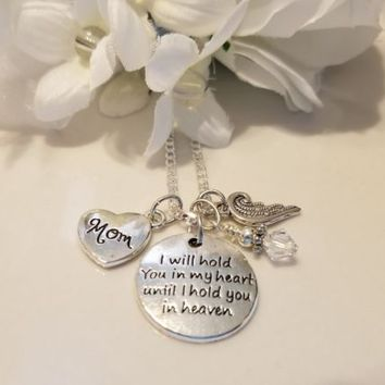 Hand stamped, Personalized, Custom, Memorial, Sympathy, Gift, Heart, Angel Wings