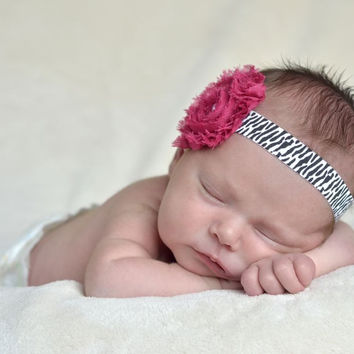 Shabby Chic Fuchsia and Zebra Baby Girl Headband