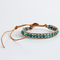 New Boho Style Mixed Leather Natural Green Agate Bead Bracelet for Women and Men Handmade Friendship Bracelets Gift Jewelry