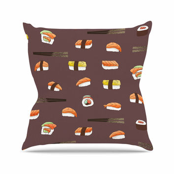 "Strawberringo ""Sushi Pattern"" Orange Brown Throw Pillow"