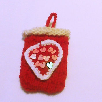 Red knit cell phone case cell phone cozy phone cover Mobile accessory Mobile gadget iphone touch sleeve Mobile phone case cellphone sweater