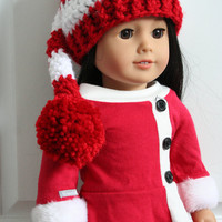 """Doll Elf Hat, Elf hat for dolls, crochet Christmas hat for 18"""" dolls, American girl doll accessories, American girl doll clothes"""