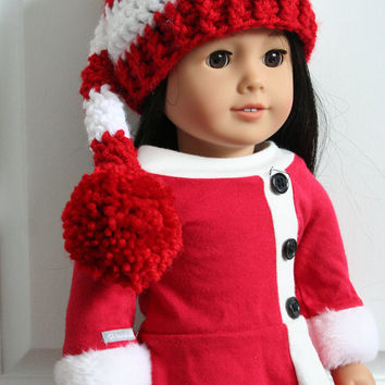 "Doll Elf Hat, Elf hat for dolls, crochet Christmas hat for 18"" dolls, American girl doll accessories, American girl doll clothes"