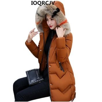 Women Fashion Hooded Fur Collar Parkas Winter Jacket Slim Plus Size 3XL Thick Warm Down Cotton Jacket Women Clothing AA338