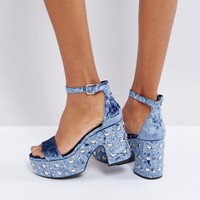 Bershka Velvet Studded Platform Sandals at asos.com