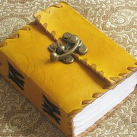 Mini Mustard Leather Journal with Brass Clasp | WithAnIndianTouch - Paper/Books on ArtFire