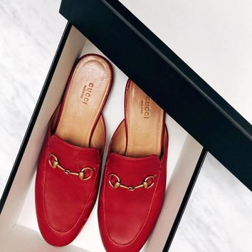 GUCCI Princetown Red Leather Slipper