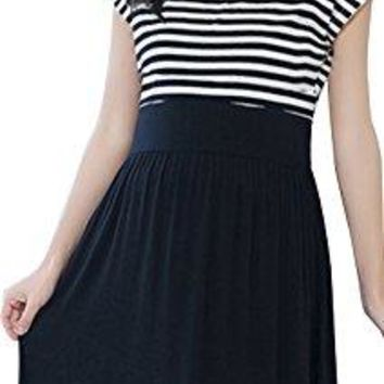Womens Summer Short Sleeve Striped Maternity Dress