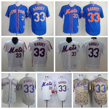 33 Matt Harvey Jersey Baseball Throwback New York Mets Jerseys with 2015 World Series Patch Cool Base White Pinstripe Grey Camo Blue Orange