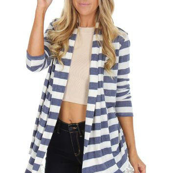 Navy Striped Lace Cardigan