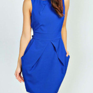 Blue Dress Sleeveless Work Dress with Pockets and Zipper
