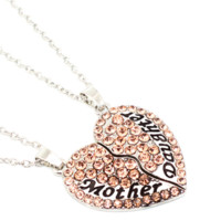 2 Parts 1 Set Necklace Mother And Daughter Forever Mix Color Rhinestone Crystal Heart