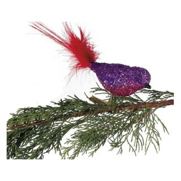 Purple/ Pink Glitter Glass Bird Clip-On with Red Feather Tail Christmas Ornament