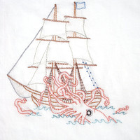 Kraken vs. Ship Hand Embroidery Pattern PDF