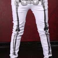 Skelebone Jeans - White :: VampireFreaks Store :: Gothic Clothing, Cyber-goth, punk, metal, alternative, rave, freak fashions