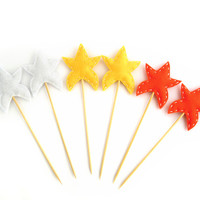 Star cupcake toppers - baby shower birthday party decor - yellow, white, orange party decoration - colorful set of six