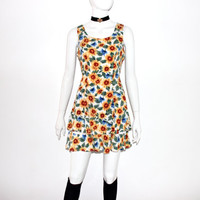 90s SUNFLOWER Floral mini Babydoll Grunge revival strappy Cage Dress
