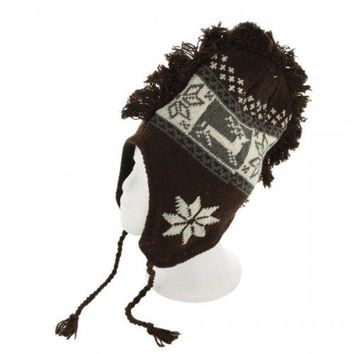 Insulated Snowflake & Reindeer Design Knit Hat With Fringe