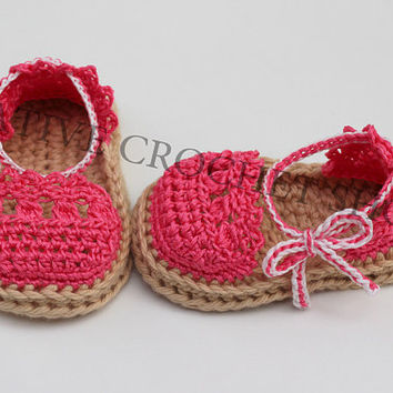 Hot Pink Candy Baby & Toddler Girl Espadrilles (Crochet baby shoes, Gender reveal photos, Baby shower gift, Summer shoes, First birthday)