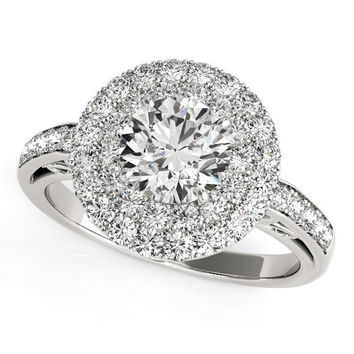 14K White Gold Round Diamond with Two-Row Pave Border Engagement Ring (2 ct. tw.)