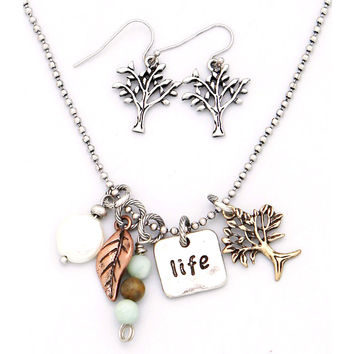 Tree of Life Charm Necklace & Earring Set