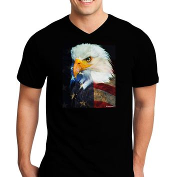Patriotic Bald Eagle - American Flag Adult Dark V-Neck T-Shirt by TooLoud