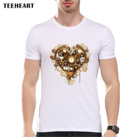 New Arrivals Summer Chameleon Owl Cat Heart Steampunk Vintage Printed T shirt For Man Short Sleeve Fashion Tees