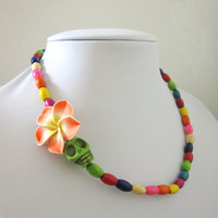 Sugar Skull Necklace Day Of The Dead Jewelry Orange Green Yellow Red Blue Purple
