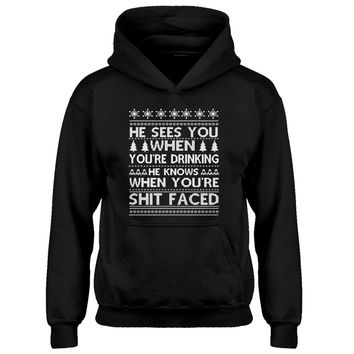 Hoodie He Sees Your When You're Drinking Kids Hoodie