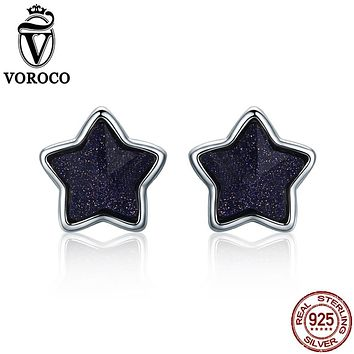 VOROCO 2017 Pure 925 Sterling Silver Star Sky Aventurine Blue Energy Lucky Stud Earrings For Women Fine Jewelry Trendy VSE057