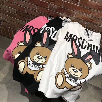 Moschino Hot Sale Trending Women Casual Print T-Shirt Top(3-Color) I