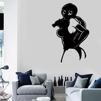 Wall Stickers Vinyl Decal Sexy Girl In Gas Mask With Whip Sex Decor (z2232)
