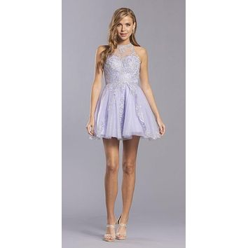 Lilac Homecoming Short Dress Illusion Back with Appliques