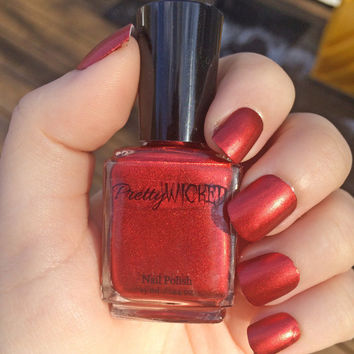Metallic Red Nail Polish, Metallic Nail Polish, Red Nail Polish, Vampy Red