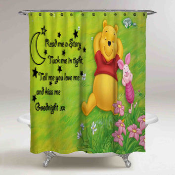 Best Disney Winnie The Pooh And Piglet Quotes High Quality Custom Shower Curtain