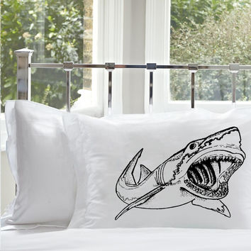 Sale - 38% Off - Set of Two Black Great White Shark Big Mouth Nautical White Standards Pillowcase pillow cover