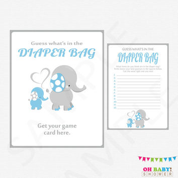 Elephant Baby Shower Games, Guess What's in the Diaper Bag, Blue Gray Elephant Baby Shower Boy, Diaper Bag Game, Printable Baby Game, ELLBG