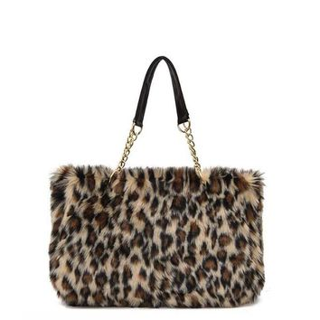 Winter Faux Fur Handbag Women Shoulder Bags Large Capacity Casual Tote Bag Fashion Leopard Handbag