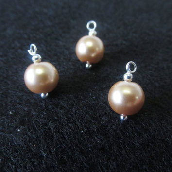 18 Pcs. Glass Pearl Charms - Silver / Gold Pearl Charms - Handmade Jewelry Making Supplies - Champagne 8mm Pearl Beads - DIY Jewelry Parts