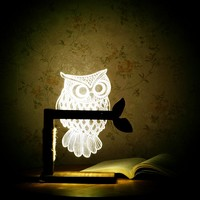 SUPERNIUDB Romantic Home 3D Owl Shape LED Desk Table Light Lamp Night Light US Plug (White)