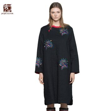 Jiqiuguer Women Embroidery Black Cotton Parkas Vintage O-Neck Split Dress Thick Warm Winter Ladies Cotton Padded Coats G174Y010