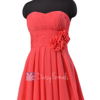 Short Cherry Chiffon Dress for Beach Wedding Red Strapless Bridesmaid Dress (BM2424)
