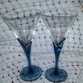 Vintage House of Courvoisier Cognac Crystal Martini Glasses Blue Tulip Shaped Stems and Clear Crystal Tops Made in Italy