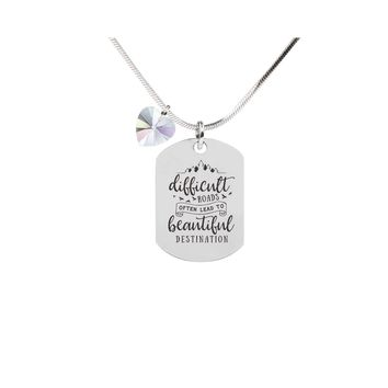 Inspirational Tag Necklace In AB Made With Crystals From Swarovski  - BEAUTIFUL DESTINATION